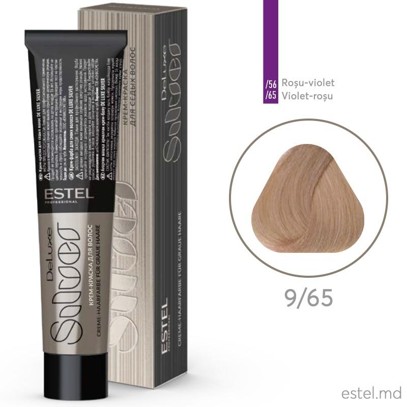 Vopsea-crema permanenta pentru par alb ESTEL DE LUXE SILVER, 9/65 Blond violet-rosu, 60 ml
