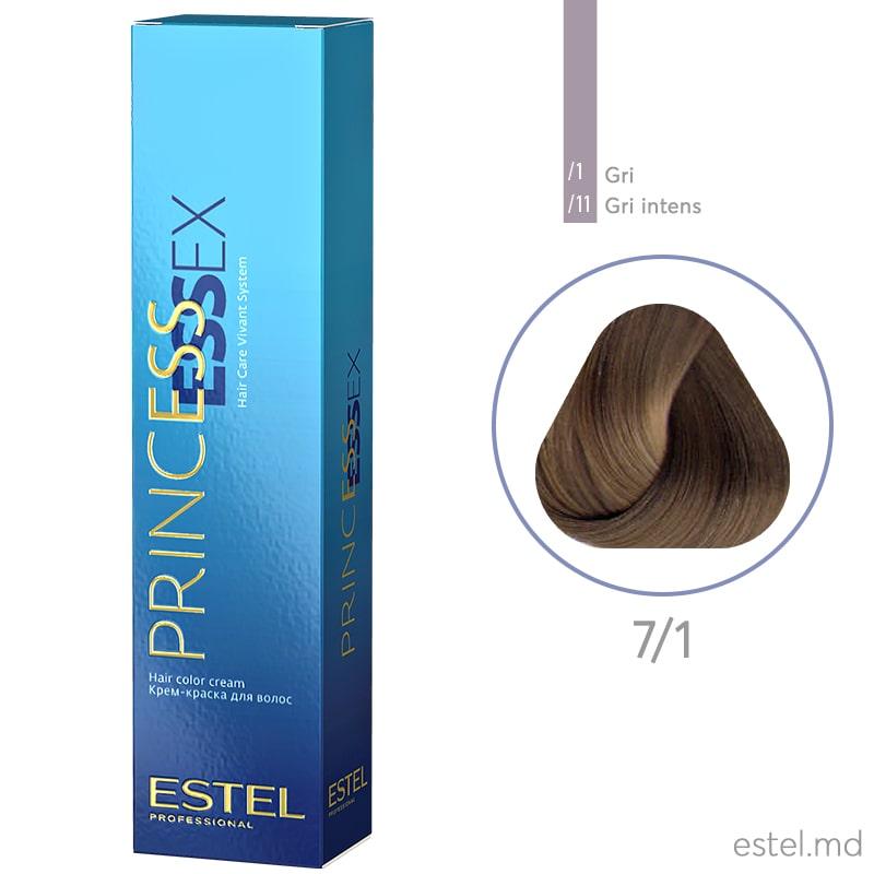 Крем-краска для волос PRINCESS ESSEX, 7/1 Русый пепельный, 60 мл