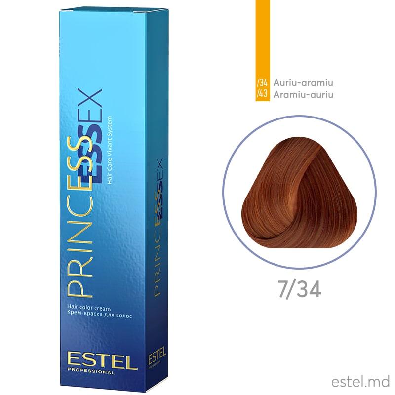 Крем-краска для волос PRINCESS ESSEX, 7/34 Русый золотисто-медный, 60 мл