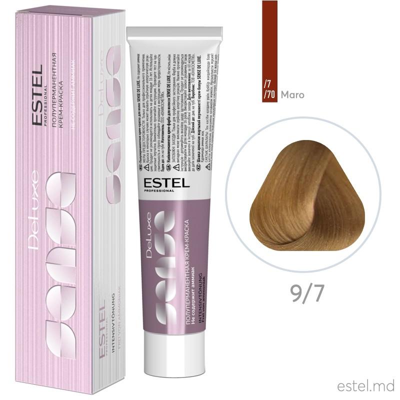 Полуперманентная крем-краска для волос DE LUXE SENSE, 9/7 Блондин коричневый, 60 мл