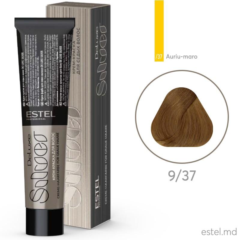 Vopsea-crema permanenta pentru par alb ESTEL DE LUXE SILVER, 9/37 Blond auriu-maro, 60 ml
