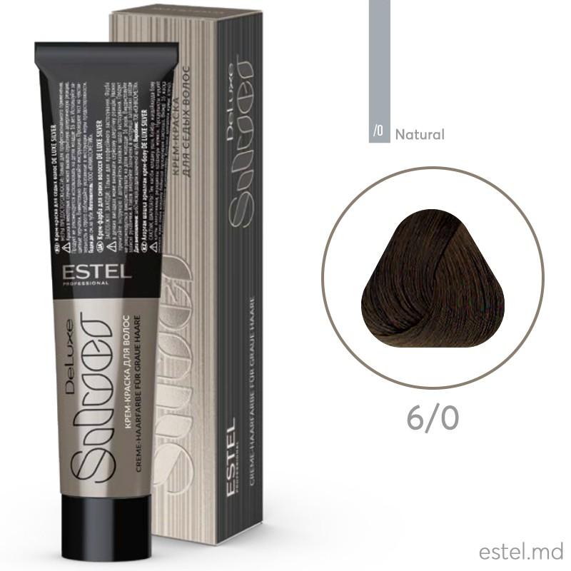 Крем-краска для седых волос DE LUXE SILVER, 6/0 Темно-русый, 60 мл