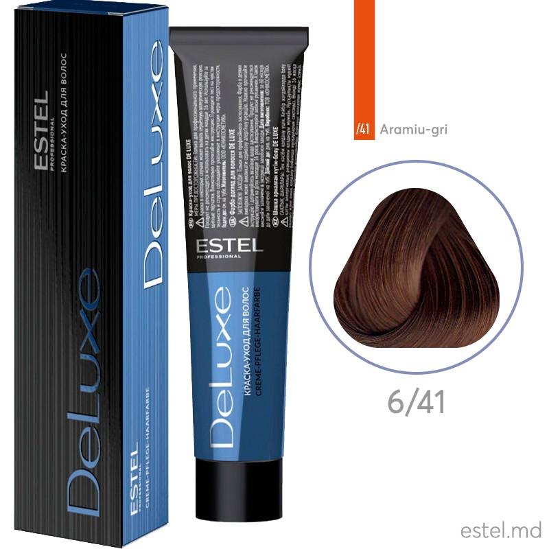 Vopsea permanenta de par De Luxe 6/41 Blond inchis aramiu-cenusiu 60 ml