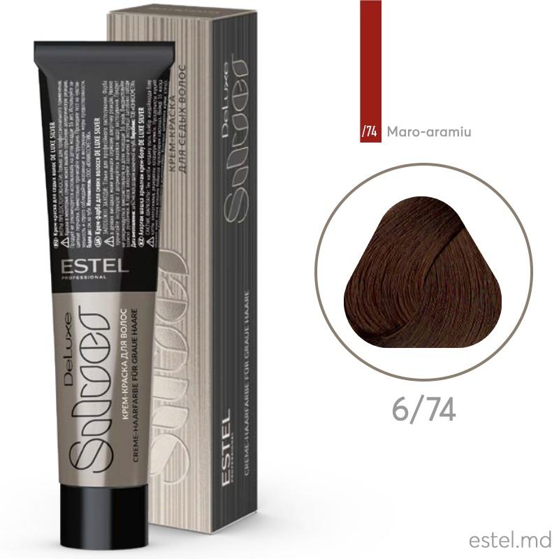 Крем-краска для седых волос DE LUXE SILVER, 6/74 Темно-русый коричнево-медный, 60 мл