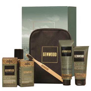Set îngrijire piele pentru bărbați ESTEL GENWOOD Travel (Șampon 60 ml, ulei 100 ml, gel 50 ml, deo 50 ml, pastă 75 ml, periuță de dinți)