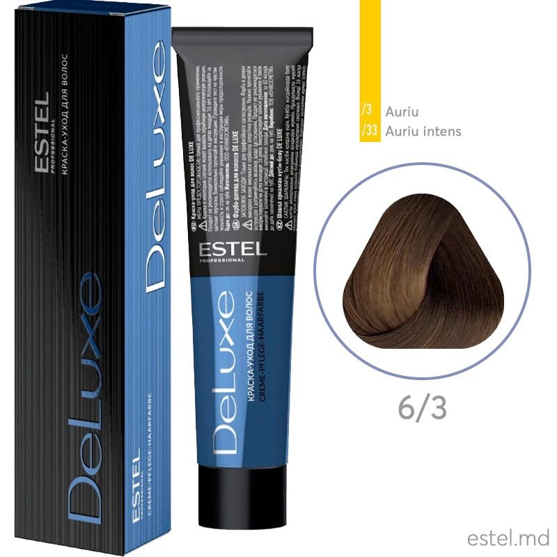 Vopsea permanenta de par De Luxe 6/3 Blond inchis auriu 60 ml
