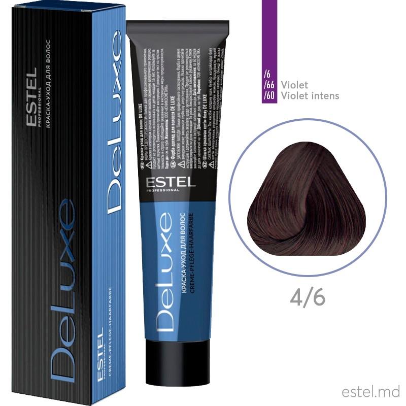 Vopsea permanenta de par De Luxe 4/6 Saten mediu violet 60 ml