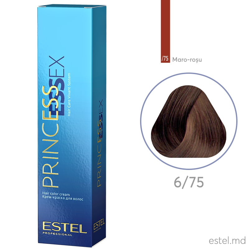 Крем-краска для волос PRINCESS ESSEX, 6/75 Темно-русый коричнево-красный, 60 мл