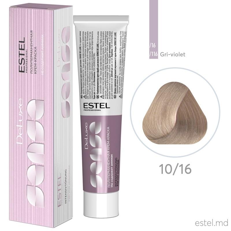 Vopsea semipermanenta de par De Luxe Sense 10/16 Blond foarte deschis cenusiu-mov 60 ml