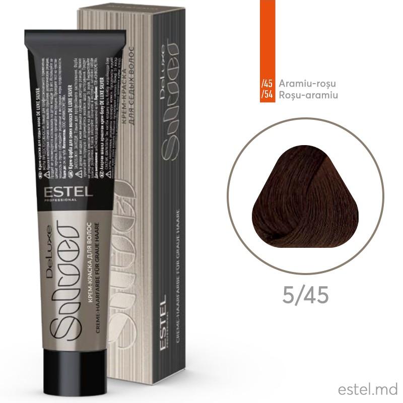 Крем-краска для седых волос DE LUXE SILVER, 5/45 Светлый шатен медно-красный, 60 мл