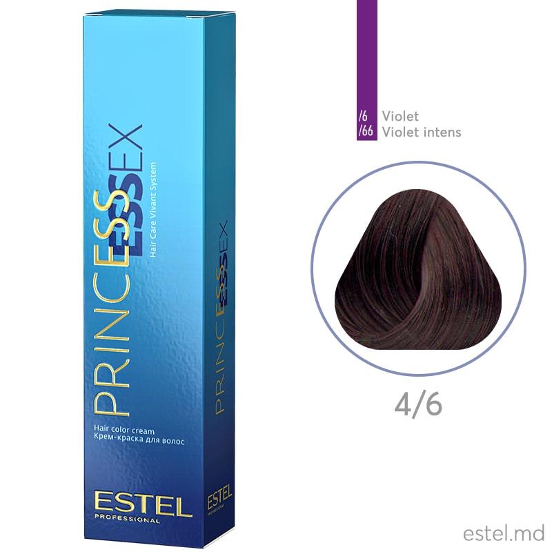 Крем-краска для волос PRINCESS ESSEX, 4/6 Шатен фиолетовый, 60 мл