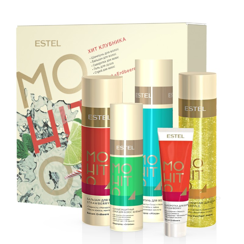 Set HIT #5 Capsuna ESTEL MOHITO (Sampon 250 ml, balsam 200 ml, ser 60 ml, spray 100 ml, gel de dus 200 ml)