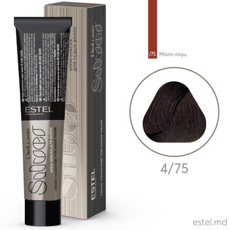 Крем-краска для седых волос DE LUXE SILVER, 4/75 Шатен коричнево-красный, 60 мл