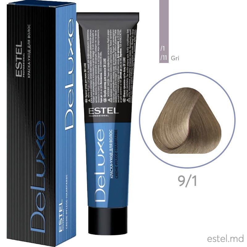 Vopsea permanenta de par De Luxe 9/1 Blond cenusiu 60 ml