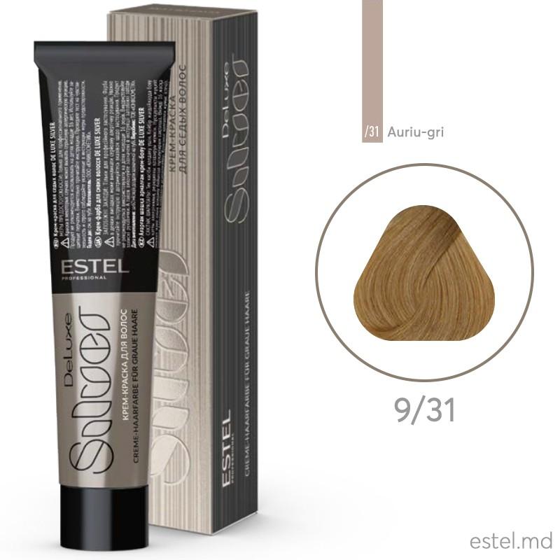 Крем-краска для седых волос DE LUXE SILVER, 9/31 Блондин золотисто-пепельный, 60 мл