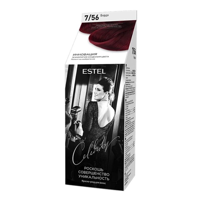 Vopsea-îngrijire pentru păr semipermanentă Celebrity, 7/56 Bordo, 125 ml
