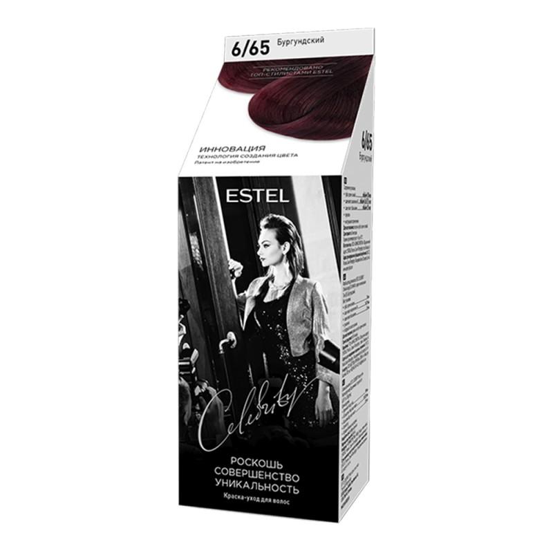 Vopsea-îngrijire pentru păr semipermanentă Celebrity, 6/65 Burgundia, 125 ml