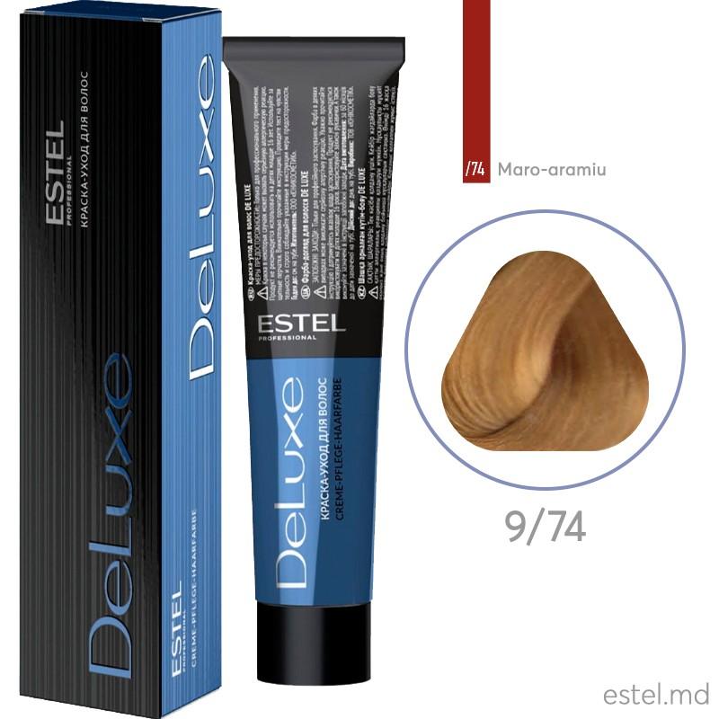 Краска-уход для волос DE LUXE, 9/74 Блондин коричнево-медный, 60 мл