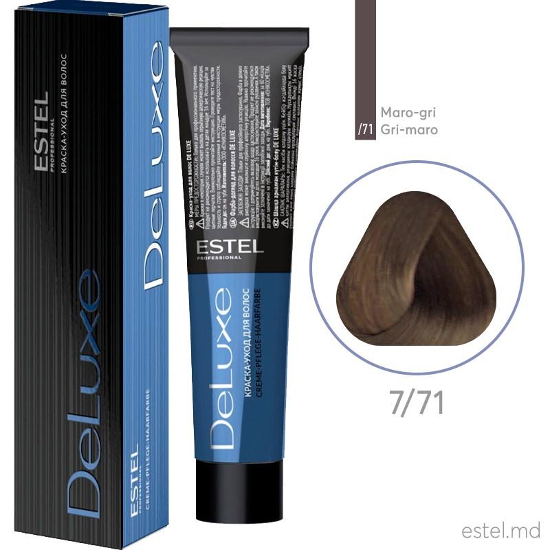 Vopsea permanenta de par De Luxe 7/71 Blond mediu maro-cenusiu 60 ml