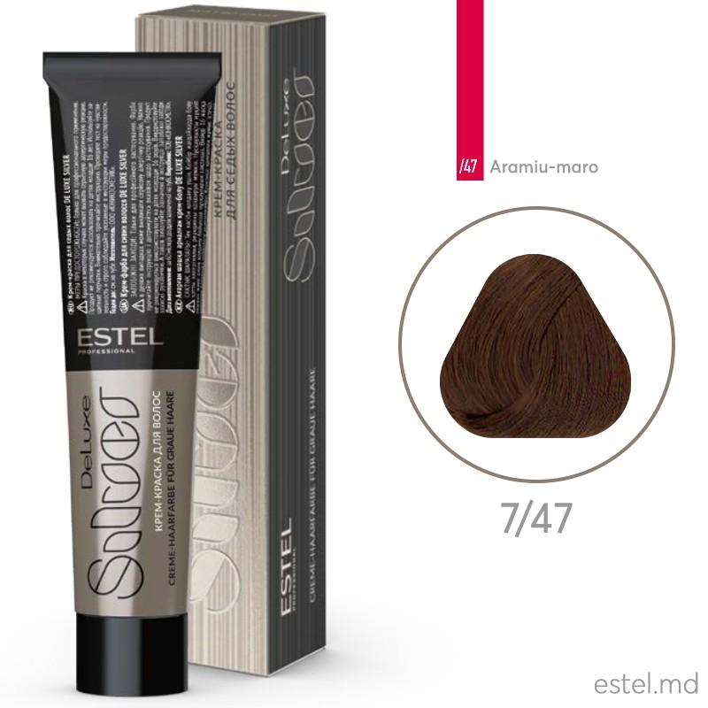 Крем-краска для седых волос DE LUXE SILVER, 7/47 Русый медно-коричневый, 60 мл