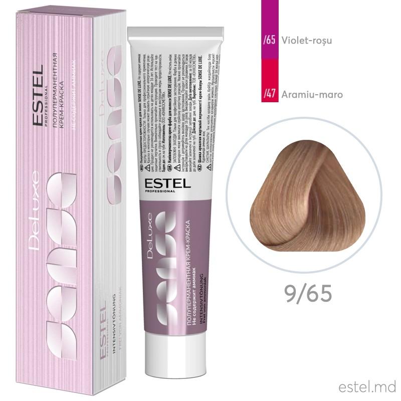 Полуперманентная крем-краска для волос DE LUXE SENSE, 9/65 Блондин фиолетово-красный, 60 мл