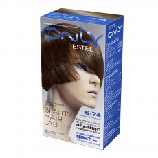 Vopsea-îngrijire pentru păr permanentă Only, 6/74 Blond închis cupru-cafeniu, 100 ml